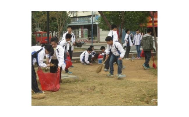 宿松实验中学到园林广场开展文明创建活动